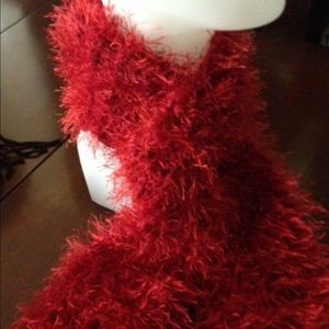 Red fluffy scarf